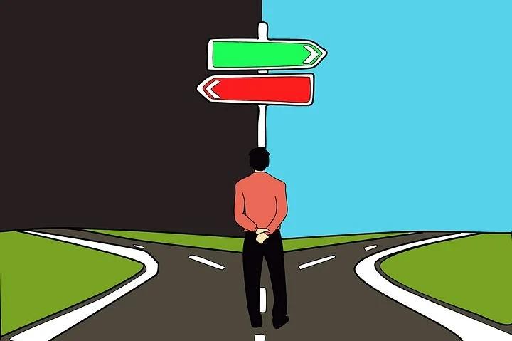 A man Making a choice to follow