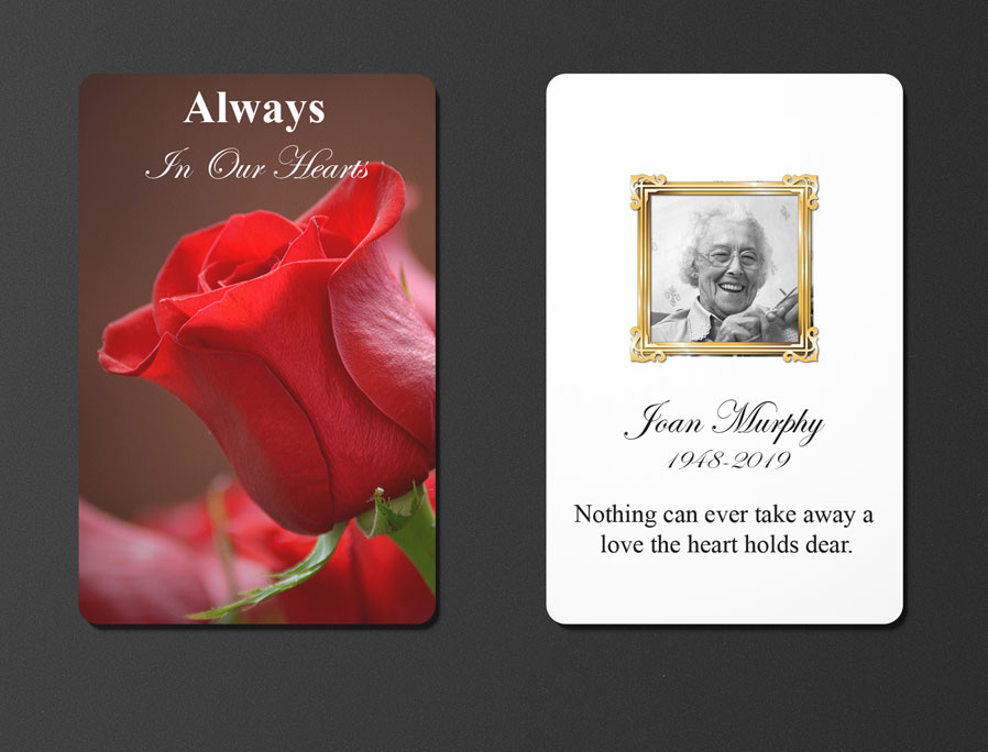 writing memorial card