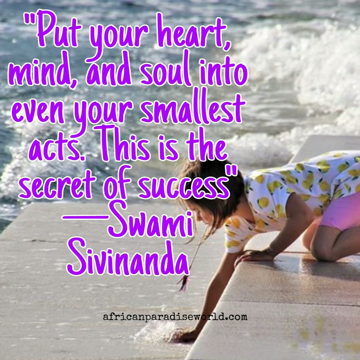 Motivational quote from Swami Sivinanda