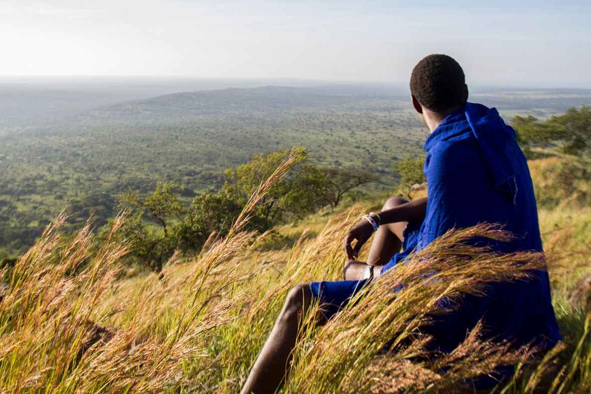 A Warriors for Wildlife team member looks over the Maasai Steppe.