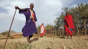 Maasai men and a Living Wall in Tanzania