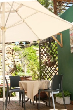 Under the shade, but loving the Sun at our breakfast restaurant