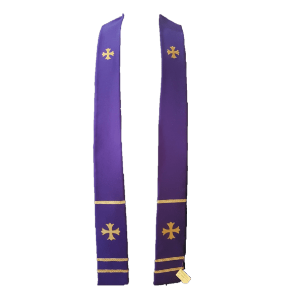 2 Point Stole Purple Gold Cross