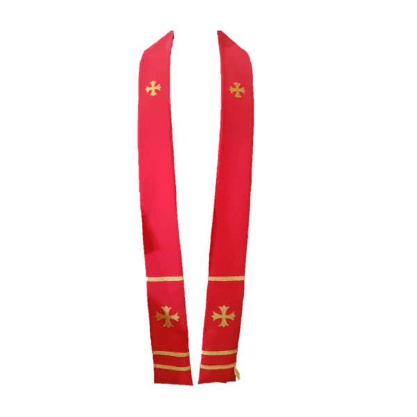 2 Point Stole Red Gold Cross