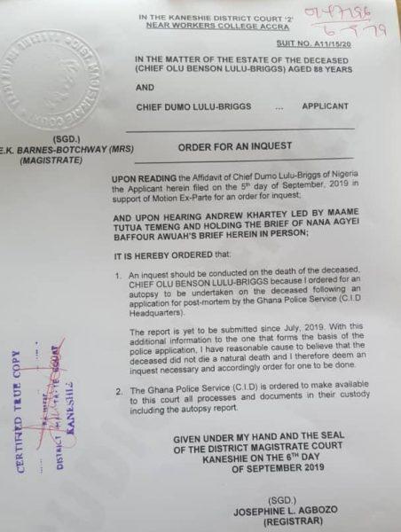 Lulu-Briggs, court ordered autopsy