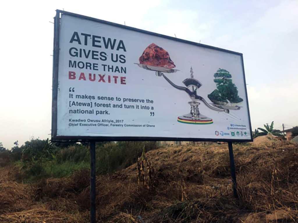 Street sign showing bauxite in atewa ghana