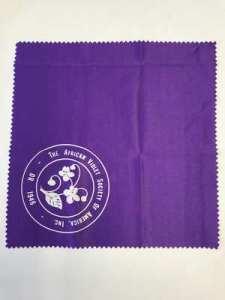Image of purple microfiber cloth with AVSA Seal