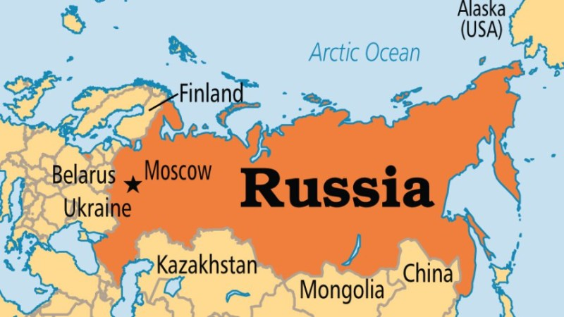 Map showing Russia
