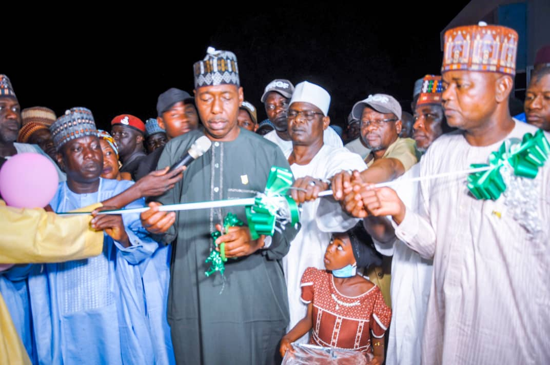 Zulum Opens Health Centre, Technical College in Chibok; Inspects 500 Houses in Damboa