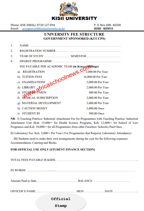 Kisii University School Fees Structure