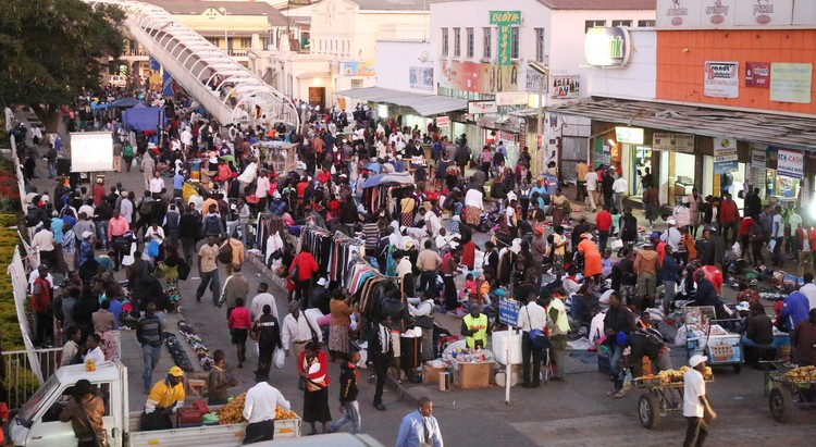 One of the busy streets in Harare Central Business District. Informal traders now form the backbone the ailing Zimbabwe economy. Photo: Believe Nyakudjara