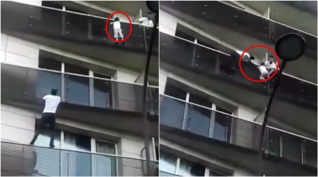 'African Spiderman' climbs four storeys to rescue a child in France