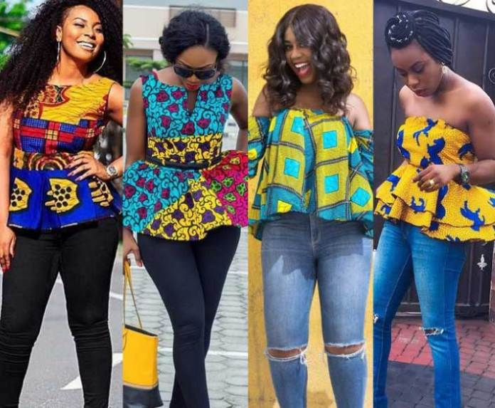 African print tops with jeans