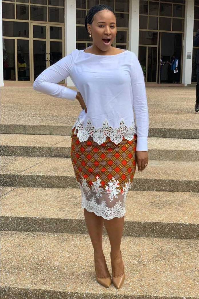African print skirt with lace
