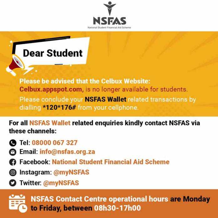 Latest NSFAS celbux news.