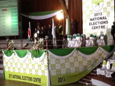 Kenya 2013 election IEBC public relations headquarters at Bomas of Kenya