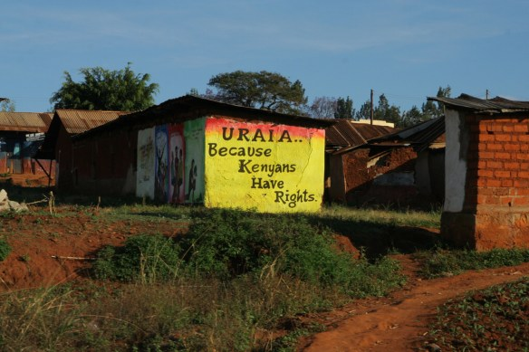 Democracy Assistance signage painted on rural building - URAIA . . . because Kenyans have rights