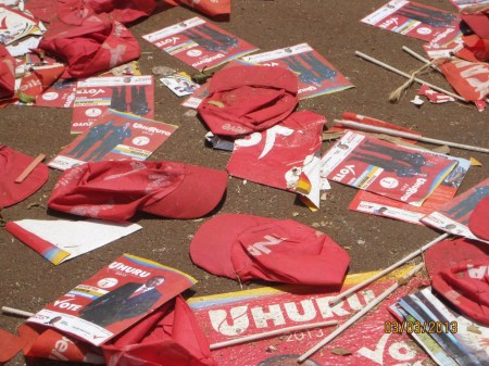 Uhuru Kenya presidential campaign rally trash