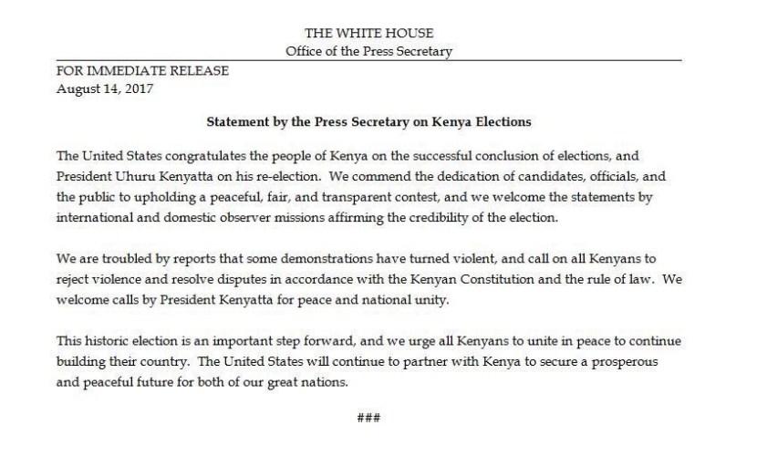 Kenya Election Trump White House congratulates Kenyatta on fair and transpaent re-election