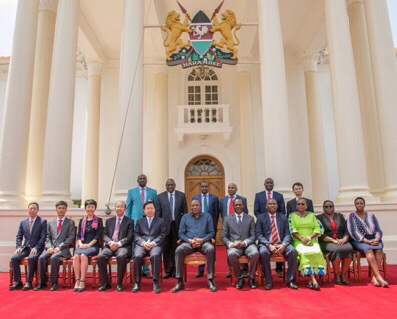 Kenya President Uhuru Kenyatta meets with Chinese Communist Party leaders to on behalf of his Jubilee Party at Kenya's State House