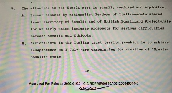 British Somaliland protectorate independence CIA NSC brief