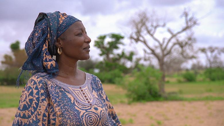 Senegalese farmer Fatou Yalindiaye looks across her fields.
