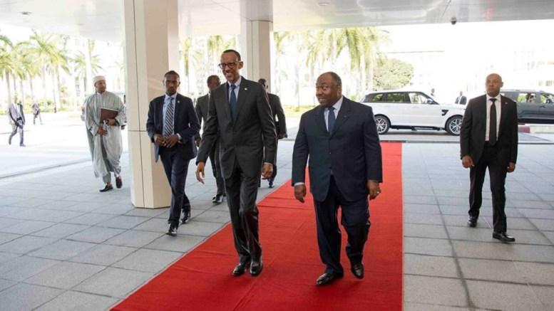 Paul Kagame et Ali Bongo Ondimba au Palais de Libreville