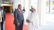 Moment d'échange entre les présidents Ali Bongo Ondimba et Faustin-Archange Touadéra à Libreville