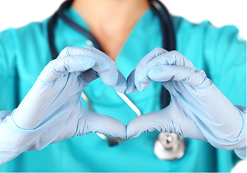 Doctor making a heart