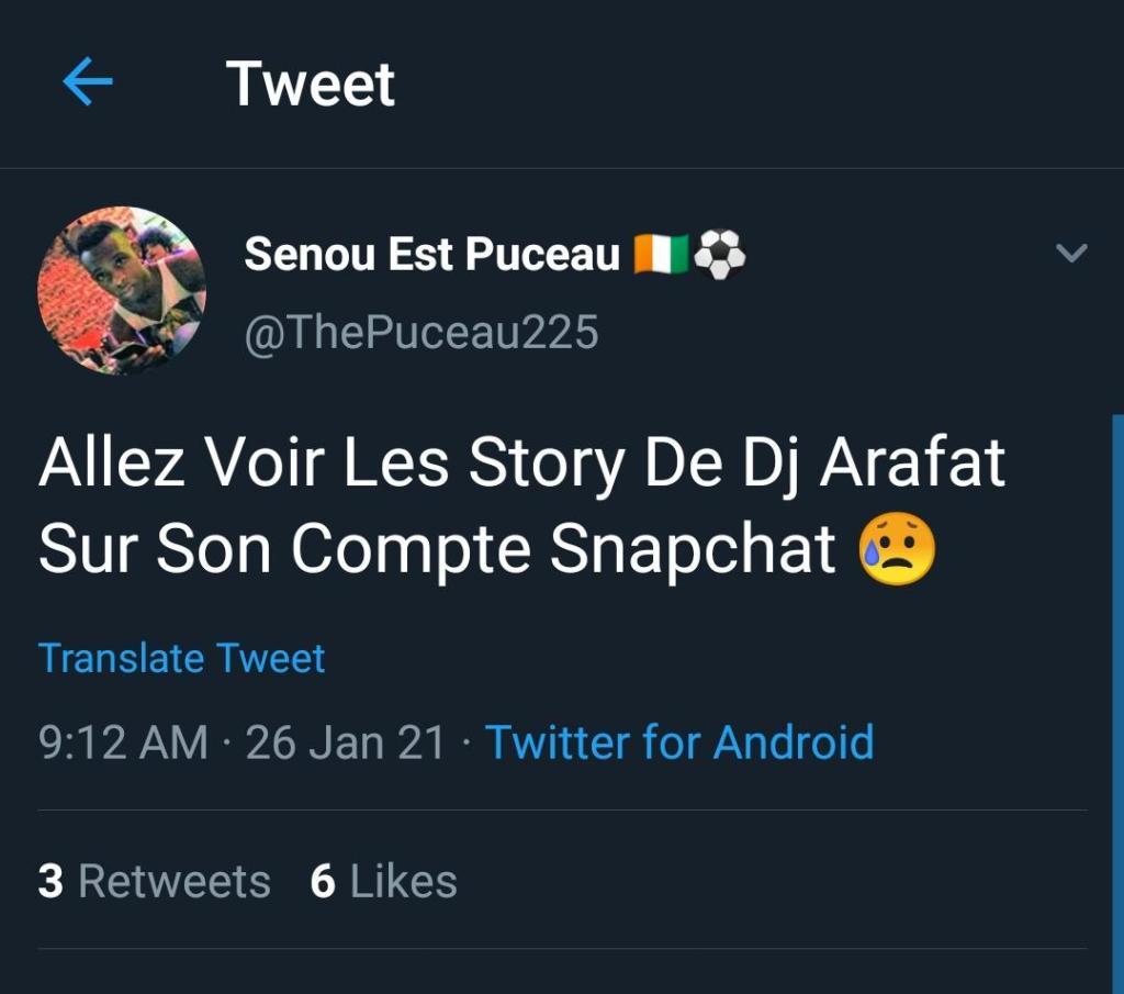 DJ Arafat Snapchat piraté ressuscité