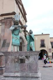 Some statues outside a church in Queretaro