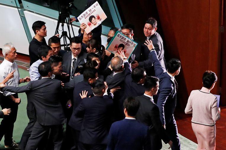 Chaos in Hong Kong Parliament