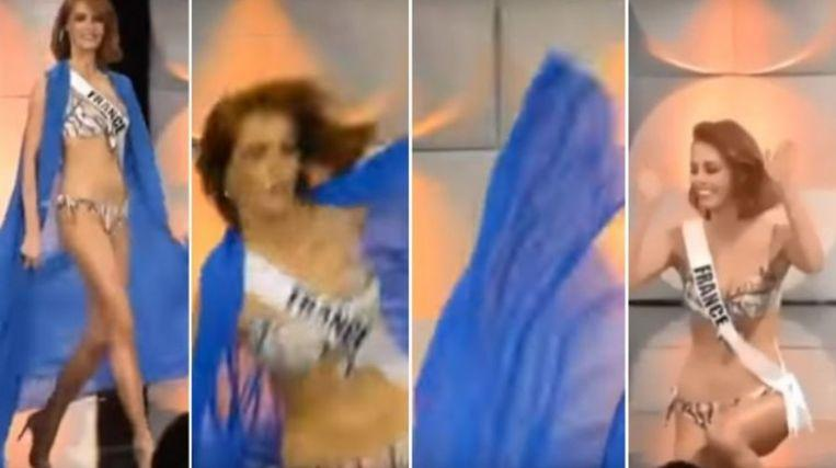 Miss France slips down during preselection of Miss Universe [Video]