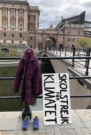 Greta Thunberg campaigning for climate change in adapted form