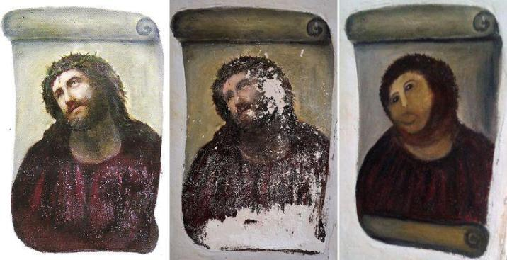 This 'Ecce Homo' fresco in Borja was hit hard in 2012.