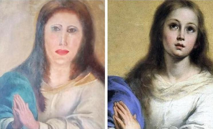 "Restoration goes wrong: ""face of Virgin Mary mutilated beyond recognition"""