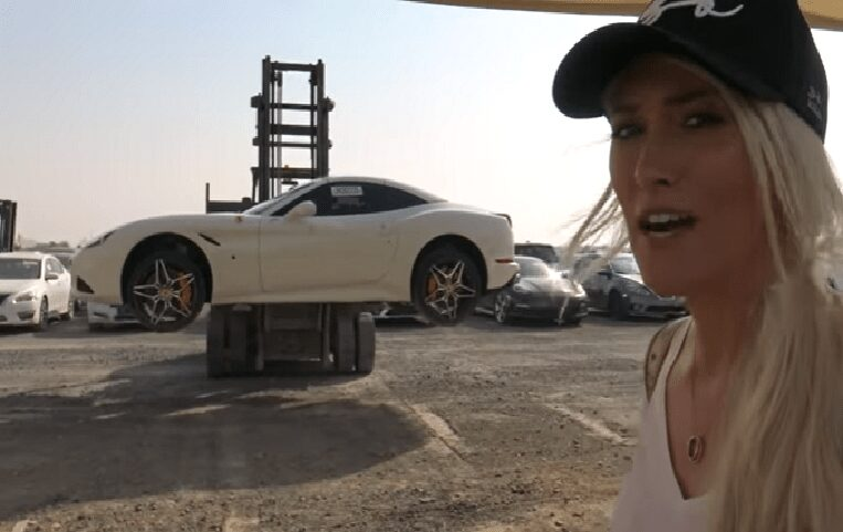 Junkyard in Dubai full of wrecks and abandoned expensive cars