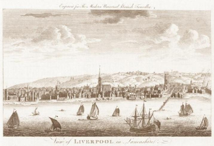 The Port of Liverpool, England. This is a scan of an original engraving from 'The Modern Universal British Traveller' published by J Cooke in 1779. At this time ships out of Liverpool dominated the transatlantic slave trade.