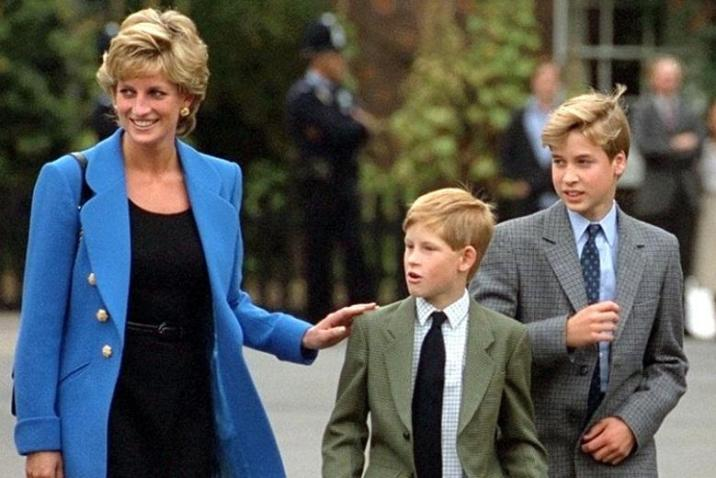 Princess Diana and her two sons Prince Harry and Prince William