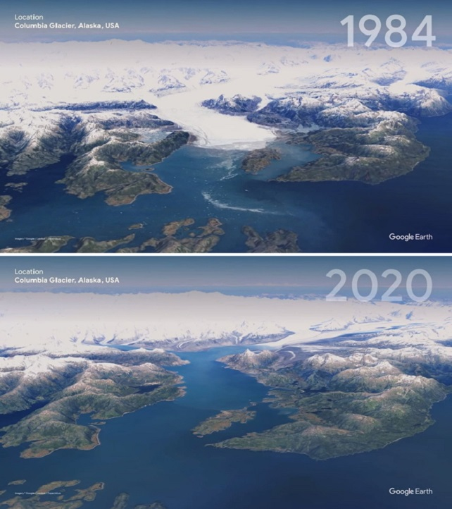 The glacier in Alaska also changed