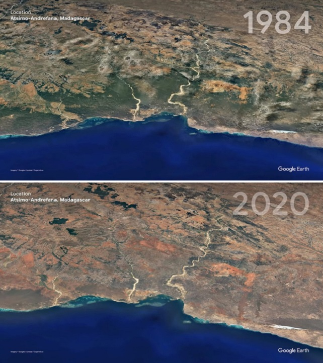 This part of Madagascar was once green, but has become red.