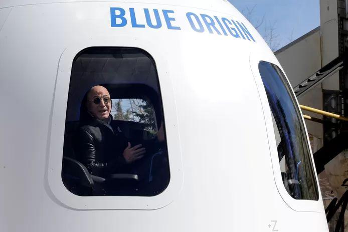 Blue Origin CEO Jeff Bezos at the presentation of a model of the New Shepard spacecraft in 2017.
