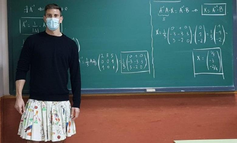 Why Spanish teachers stand in front of the class in skirts or dress