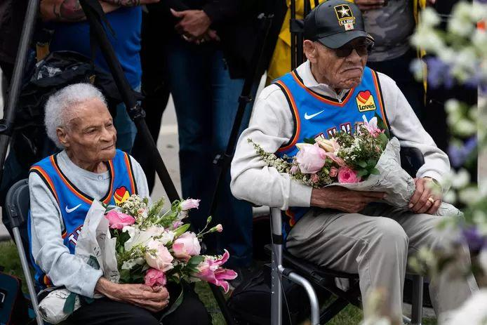 Viola Fletcher (107) and WWII veteran Hughes Van Ellis (100), along with Lessie Benningfied Randle, are the only survivors of the massacre still alive.