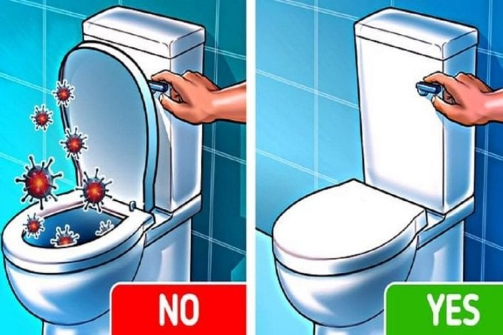 Adviseable to cover the toilet bowl before flushing