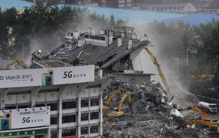 No less magnificent demolition of the workers' stadium.