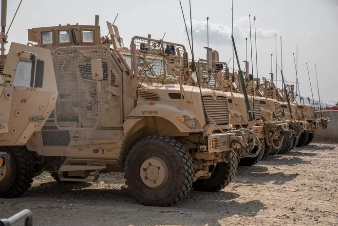 The Americans also left behind 70 MRAP vehicles, seen here on archival footage