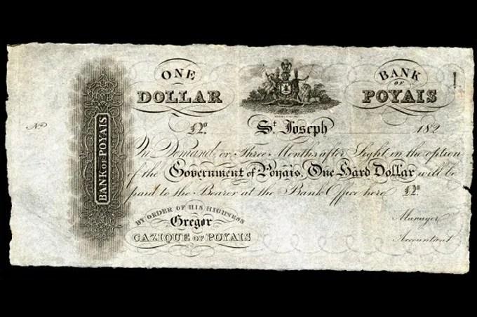 Poyais Bank, 'dollar' printed in Scotland