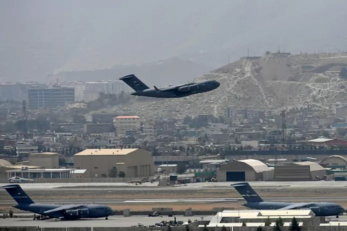 A US Air Force plane takes off from Kabul airport.