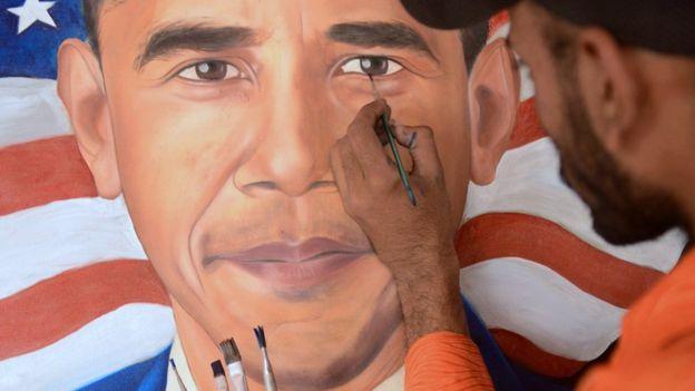 La fausse ambassade avait une peinture du président américian Barack Obama accroché à un mur